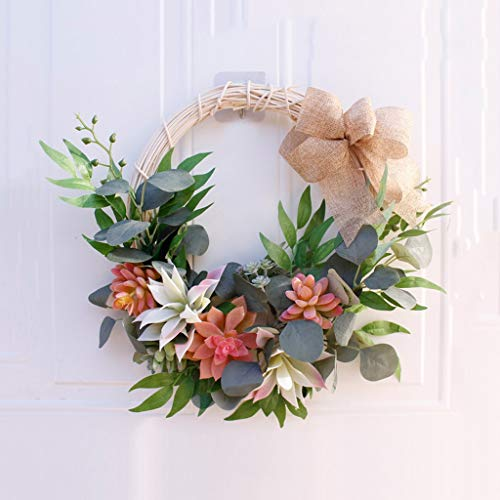 ZZWZM Artificial Fake Flower Wreath Handmade Round Garland Design for Front Door Wall Christmas Wreath Window Wedding Party Decor 40cm