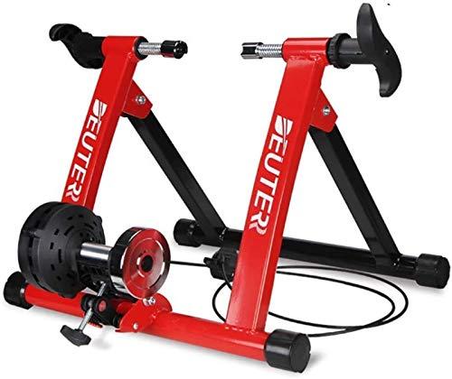 Lanrui Bici MTB Red Interior de Bicicletas Trainer estacionario Soporte Entrenamiento Marco de Acero 5 Nivel de Resistencia Magnética for el hogar del Entrenamiento del Ejercicio de la Bici Bike