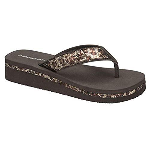 Dunlop Damen-Sandalen mit Keilabsatz und Strasssteinbesatz, Schwarz - Leopardenmuster. - Größe: 38 EU