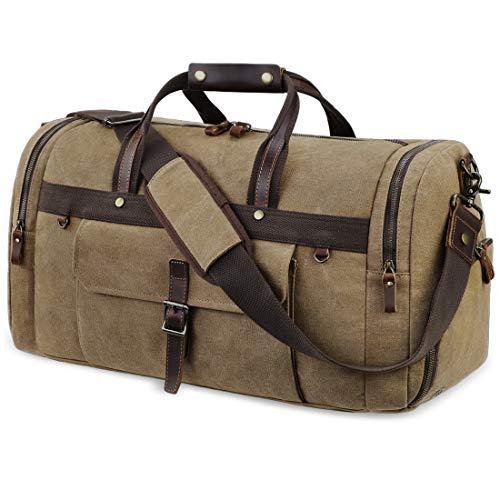 Sac de Voyage 55L Sac Weekend imperméable avec Compartiment Chaussures Sac Toile Duffel Bag Vintage Sac Cabine Avion Sac de Camping Randonnée pour Hommes et Femmes Marron