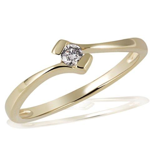 Goldmaid Damen-Ring 18 Karat 750 Gelbgold Verlobungsring Solitär 1 Brillant 0,10 ct. Gr. 58 (18.5) So R3925GG75058 Schmuck