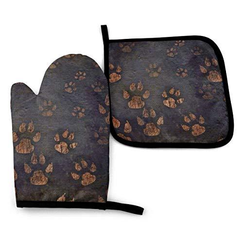 Alvahw Ofenhandschuhe Topflappen Tierische Fußabdrücke Ofenhandschuhe und Topflappen, 2 Stück hitzebeständige Küchenhandschuhe 1 Ofenhandschuhe, 1 Topflappen