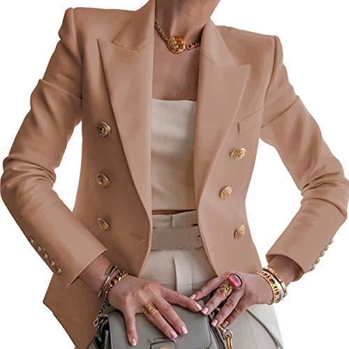 Blazer para Mujer Elegante Mangas Largas Chaqueta de Traje con Botones Dorados Corte Slim de Negocio Oficina Color Sólido (Beige, S)