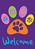 Toland Home Garden 102669 Welcome Paws-Purple 28 x 40 Inch Decorative, (28' x 40'), Double Sided House Flag