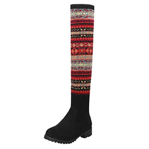 TPulling Overknees Damenschuhe Klassischer Stiefel Pump High Heels Reißverschluss Stiefel,Weihnachtsmuster Stiefel Overknee High Heels Absatz Chunkyrayan