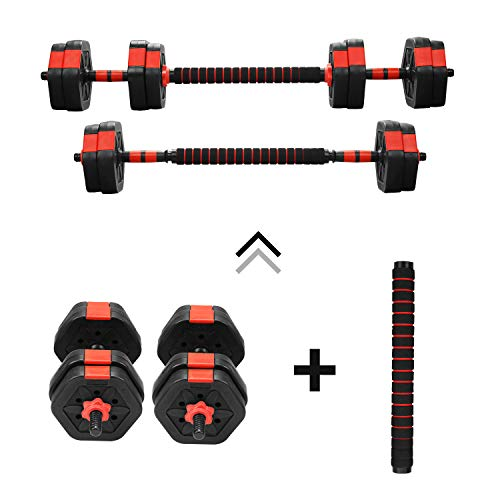 ZENOVA Adjustable Dumbbell Barbell Sets 33 Lbs, Gym Workout Exercise Weight Set with Connecting Rod,Lifting Dumbbells Used As Barbell for Whole Body Gym Workouts (33)
