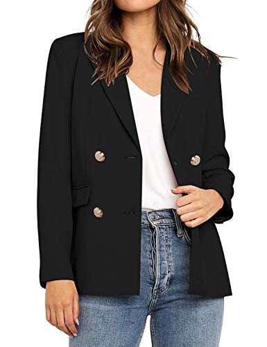 Vetinee Women's Black Casual Lapel Pocket Blazer Suit Long Sleeve Buttons Double Breasted Work Office Jacket Size XX-Large
