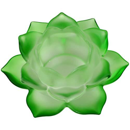 Porte-Bougie Vert Lotus en verre