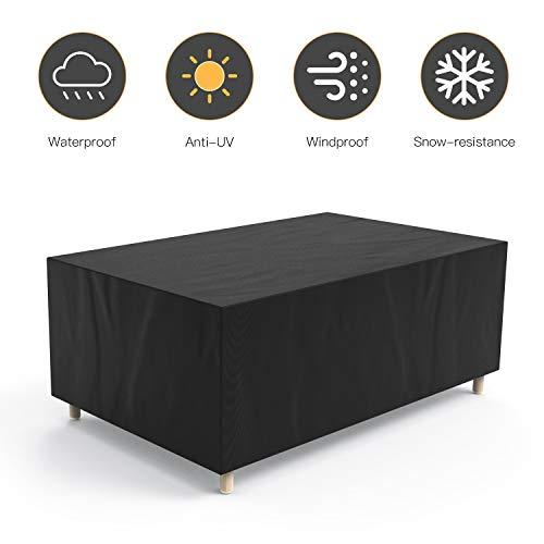Govvay Cubierta de Muebles de Jardín Funda Protectora para Muebles Impermeable Anti-UV 420D Oxford Protección Exterior Muebles de Jardín Sofá,Mesa,Silla Negro(213x132x74cm)