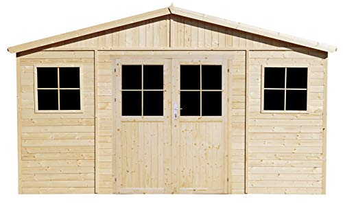 TIMBELA Wooden Garden Shed with higher quality sturdy door and the base - Outdoor Storage with Windows - W14ft x L11ft x H8ft Timber Shiplap Shed - Garden Workshop - Bike, Tool Shed M331F+M331G