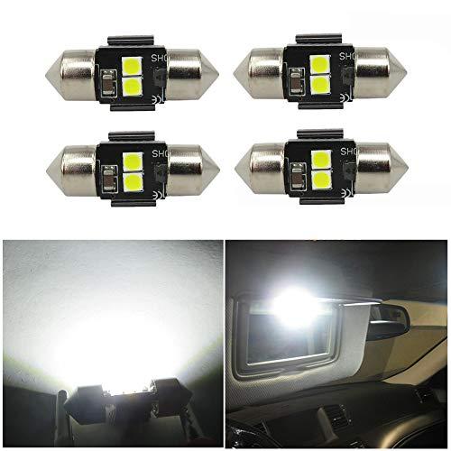 WLJH Lot De 4 Canbus Led Avec 3030 Puce 28Mm Auto IntéRieures Pour Coffre Ampoules Plafonnier 12V Blanc Pur 6000K Ultra Lumineuse
