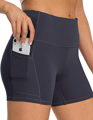 oyioyiyo High Waisted Biker Shorts for Women Workout Yoga Running Compression Shorts with Pockets Charcoal Grey
