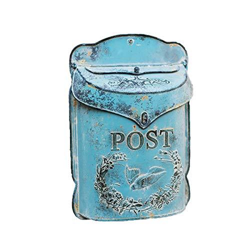 TentHome Briefkasten Wandbriefkasten Mailbox Postkasten Landhaus Schmiedeeisen Post Zeitung Letterbox Abschließbar Briefkastenanlage mit klappe Wanddekoration (Blau1)