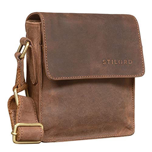 STILORD 'Nate' Herrentasche Leder klein Umhängetasche Schultertasche Männer Handtasche Messenger Bag Vintage echtes Leder, Farbe:Veleta - braun