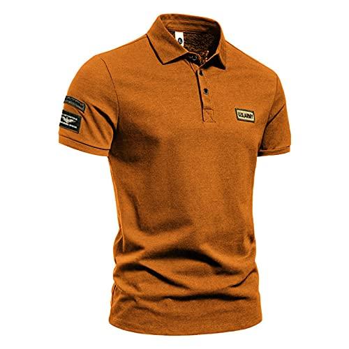2021 Camiseta para Hombre,Verano Polo Camiseta Deporte Manga corta Color sólido Moda Estilo militar Slim Fit Casuales T-shirt Blusas originales camisas algodón suave básica otoño Camisetas