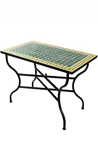 Mesa mosaico de balcón marroquí oriental mediterránea ORIGINAL - Marrakesch verde/amarillo 100 x 60 cm - mesa de cocina mesa de azulejos mesa de comedor mesa de jardín mesa de terraza: Amazon.es: