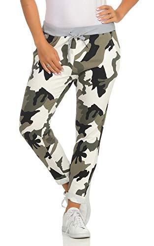 Mississhop 287 Damen Hose Cargohose Blumen Sweatpants Jogginghose Baumwolle Freizeithose Boyfriend Jeans Modell 13 Militär