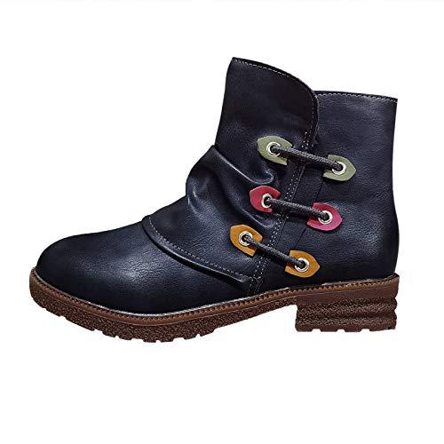 DAIFINEY Damen Winterstiefel Halbstiefel Ankle Boot Kurzschaft Stiefel Halbstiefel Stiefelette Bootie Schlupfstiefel Schneestiefel Winterschuhe(1-Blau/Blue,37.5)