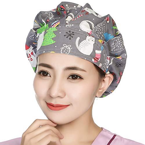 Unisex Bouffant Working Hat Cotton Shower Cap Adjustable Men Women Ponytail Cute Animal Pattern