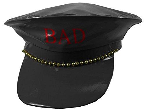 Police Chapeau Faux Cuir Bad Girl Noir