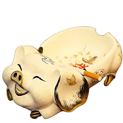 Lindo Cerdo cenicero decoración de la decoración artesanía decoración Oficina Oficina Vintage cenicero Ornamento Figurines Sala de Estar decoración (Color : Beige)