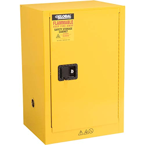 Compact Flammable Storage Cabinet, 12 Gallon Capacity, Yellow