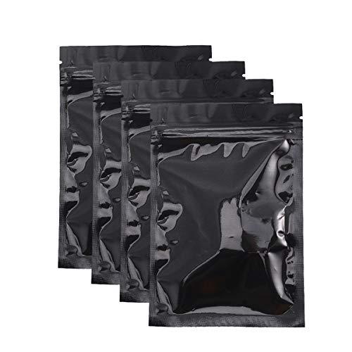NUOBESTY Alubeutel 100 Stück Aluminiumfolie Tasche Mylar Zip Lock Tasche Lebensmittel Aufbewahrungstasche, wiederverschließbare, 10 x 15cm, Schwarz