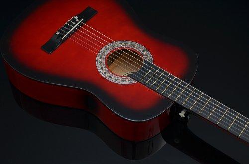 Ts-Ideen 5264 Akustik Gitarre Klassikgitarre Konzertgitarre mit Tasche, Gurt, Saiten und Plektrum rot/schwarz - 4