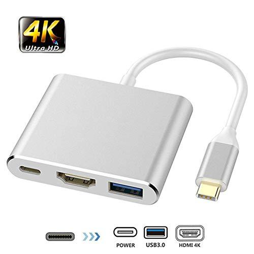 AMLLY USB-Hub, Typ C-drei-in-eins-Wandler-Verlängerungskabel-Typ-C-HDMI-4K-HD-Umwandlungskabel-Typ-C bis + HDMI USB3.0 + PD zum hdmi Lade,Silber