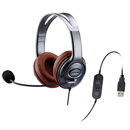 Emaiker USB Headset with Noise Cancelling Microphone Mic Mute in-Line Controller for Dragon Voice Recognition Dictation Comfortable PC Headphone for School Kids Office Skype Chat Zoom Calls Gaming