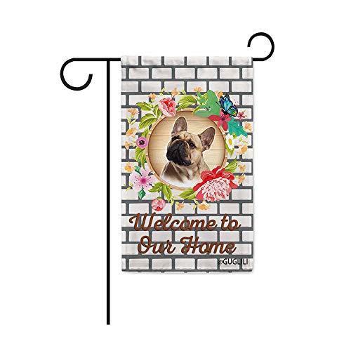 GUGLILI Welcome Frenchie Bulldog Dog Flag for Garden 12.5'X18'Inch Decoratived Wreath Brick Wall Cute Dog Spring Summner Flag Print Both Side