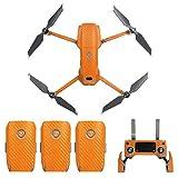 Flycoo - Adhesivo de fibra de carbono de PVC para DJI Mavic 2 Pro/DJI Mavic 2 Zoom Drone y mando a distancia autoadhesivo para la piel, protección antiarañazos, impermeable (naranja)