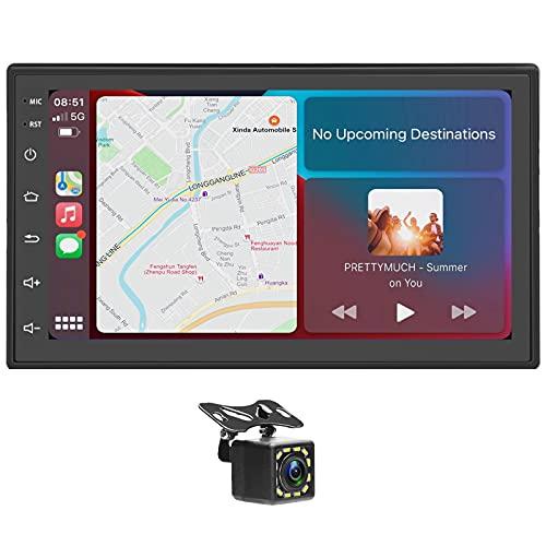 Estéreo de Coche Doble DIN Compatible con Carplay inalámbrico y Android Auto, Reproductor de Coche con Pantalla táctil de 7 'con cámara Trasera, Soporte Mirror Link /Bluetooth/WiFi/GPS/Dab+/Radio FM
