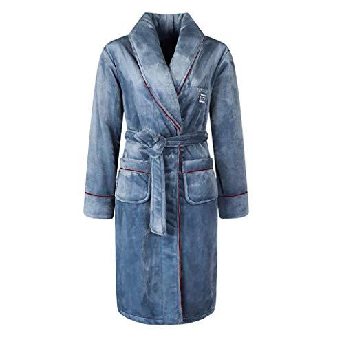 Batas largas para mujer, cálidas y esponjosas, de forro polar coral suave, para casa, para el hogar o el salón (color: azul, tamaño: grande)