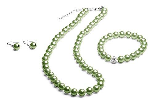 Perlenkette geknotet - Perlenarmband - Perlenohrringe - Set Grün