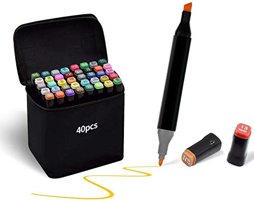 TongfuShop 40 Farben Marker Stifte Set, SGS Zertifizierte Fettige Farbstifte auf Wasserbasis, Markierungsstifte mit Doppelter Spitzen, Kunstmarker Graffiti Stift für Malen Skizze Manga