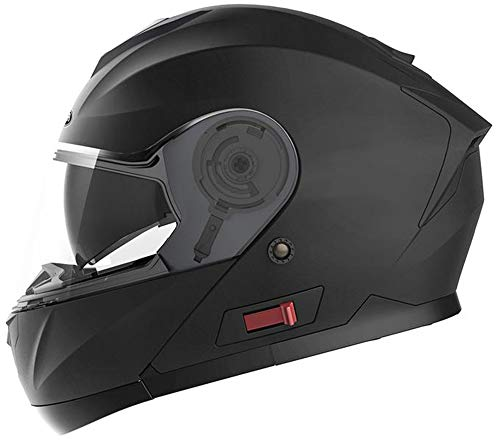 Motorcycle Modular Full Face Helmet DOT Approved - YEMA YM-926 Motorbike Moped Street Bike Racing Flip-up Helmet with Sun Visor Bluetooth Space for Adult,Youth Men and Women - Matte Black,L