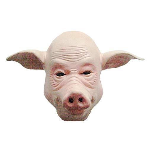 SCLMJ Latex Maske Halloween,Lustige Neuheit Niedliche Große Ohr Schwein Tier Latex Maske, Unisex-Adult Maske Halloween Karneval Party Horror Kostüm Zubehör