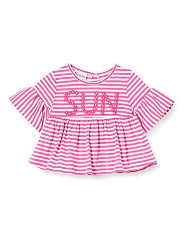 Brums T-Shirt Jersey Rigata con Paillettes Fiori, Multicolore (Bianco/Fucsia 01 906), 86 (Taglia Unica: 18M) Bimba