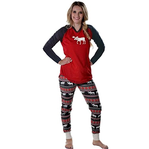 Christmas Fashion Family Macthing Pajamas Elk Sleepwear Nightwear Set (Men-3XL)