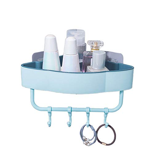 KKJIA Estantes De Baño Estante De Esquina Para Carrito De Baño Organizador De Almacenamiento Sin Perforaciones, Para Accesorios De Baño De Cocina 22.5*11cm Azul claro