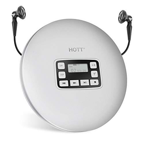 HOTT CD611T Bluetooth-CD-Player für Reise, Zuhause und Autos, mit Stereokopfhörern und Anti-Shock Protection