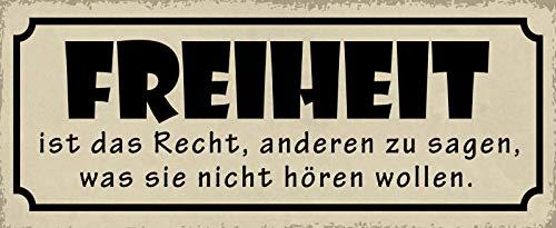 FS vrijheid is het recht om anderen te zeggen wat ze niet willen horen, metalen bord bordje gewelfd Metal Sign 10 x 27 cm