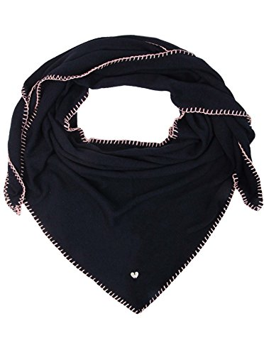 Zwillingsherz Dreieckstuch mit Kaschmir - Hochwertiger Schal mit Häkelrand für Damen Jungen Mädchen - XXL Hals-Tuch und Damenschal - Strick-Waren für Sommer Herbst Winter 150cm x 120cm - nav