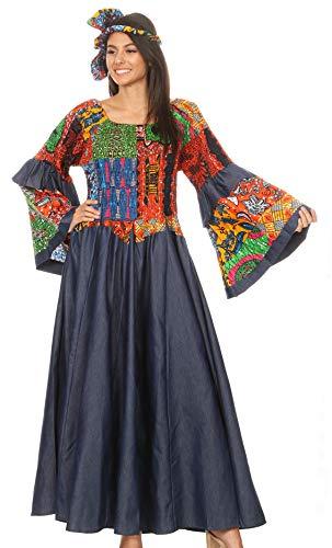 Sakkas Abayomi Wax African Ankara Chambray Peasant Medieval Casual Long Dress