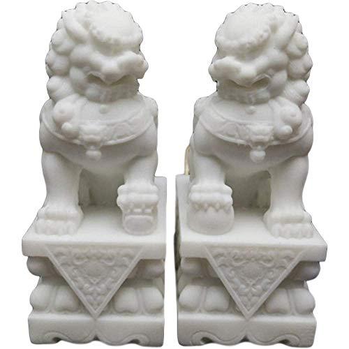 LEILEI Par de estatuas de Perros Feng Shui Fu Foo,estatuas de Leones de Beijing,estatuilla de decoración de Feng Shui de mármol Blanco,protección contra la energía maligna,Regalo de felicitación de