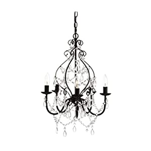 """JONATHAN Y JYL9016A Maura 5-Light 17"""" Crystal/Metal LED Chandelier Traditional,Contemporary,Transitional Dimmable, Adjustable, for Dining Room, Foyer, Bedroom, Black"""