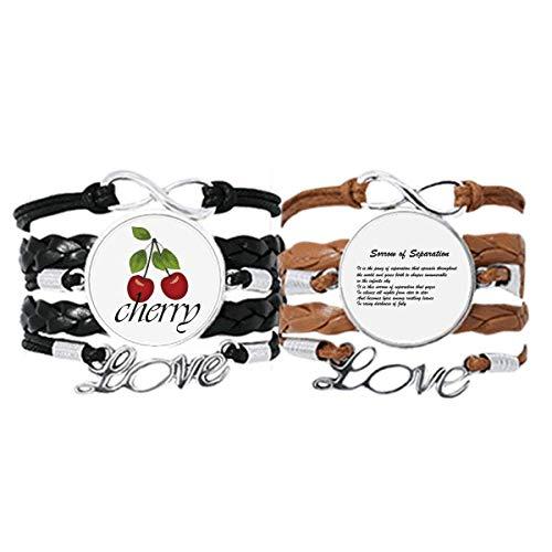 Bestchong Famous Poetry Sorrow of Separation - Pulsera de cuero con cuerda de piel y cereza, diseño de amor