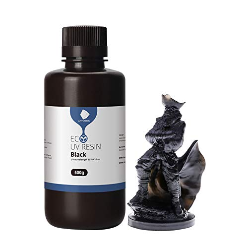 ANYCUBIC 3D Printer Resin, 405nm UV Plant-Based Rapid Resin, Low Odor, Photopolymer Resin for LCD 3D Printing, 500ml Black