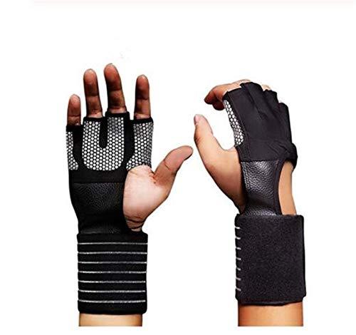 Homeilteds Gimnasio Fitness Guantes Ajustable Cuatro Medios Dedos Mujeres Hombres Entrenamiento Levantamiento De Pesas Culturismo Protector De Muñeca De Mano Adjustable (Size : X-Large)